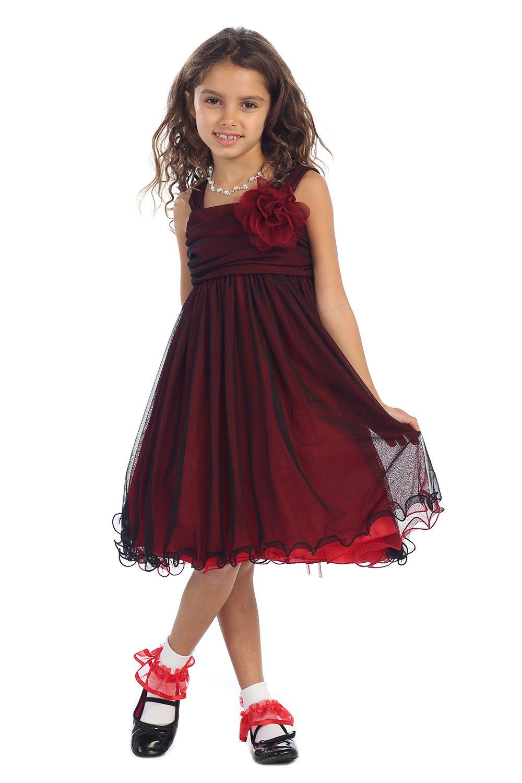 699f8d4fb Red/Black Two Tone Soft Tulle Layered Flower Girl Dress with Short Sleeves  - K298-RD K298-RD2 $46.95 on www.GirlsDressLine.Com