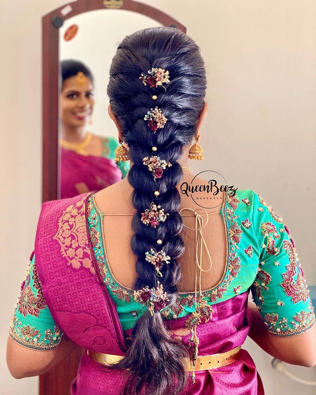 980 Likes 4 Comments Qᴜᴇᴇɴbᴇᴇᴢ ʙʏ Nᴀɴᴅʜɪɴɪ Rᴀᴊᴀ Queenbeezmakeover On Instagram Neat Sl Hair Styles Indian Bride Hairstyle Engagement Hairstyles