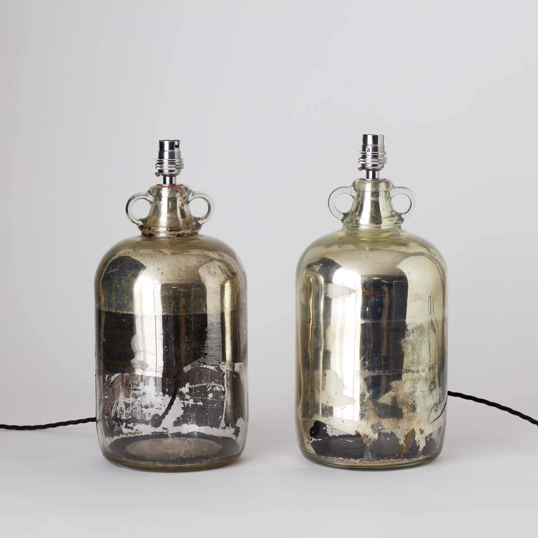 Pair of vintage hand poured mercury cider vat lights in