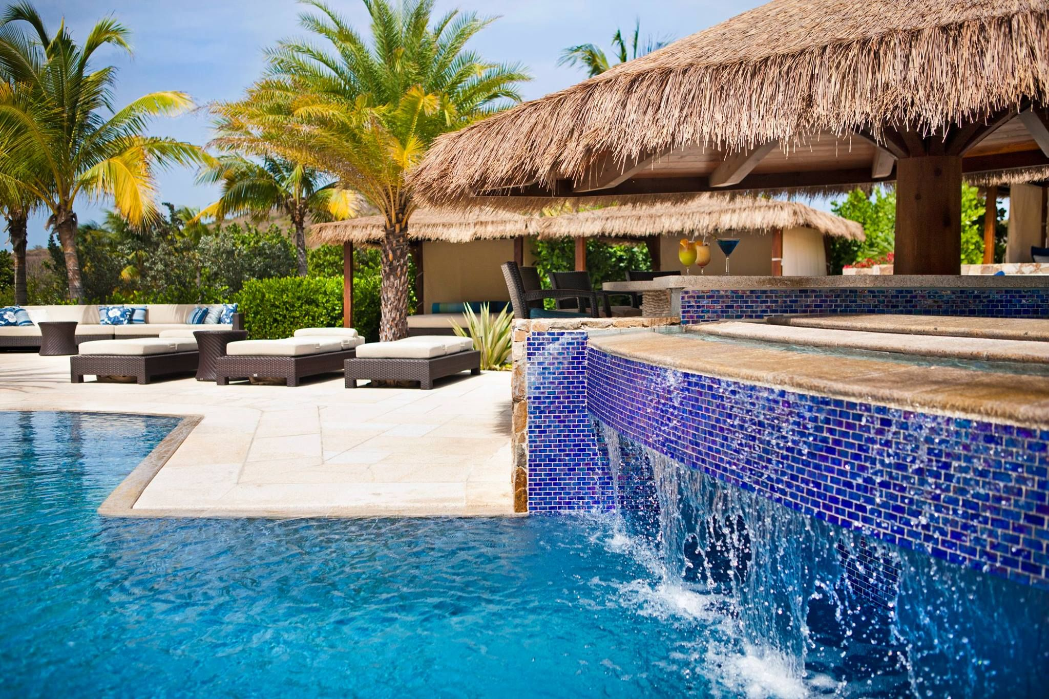 Triple Tiered Vanishing Edge Slot Overflow Glass Tile Mosaic Swimming Pools Oil Nut Bay Bvi Paolo Benedetti W Mosaic Pool Luxury Pools Pool Water Features