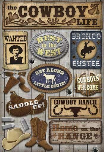 Scrapbooking Stickers | Cowboy Life - Cardstock Scrapbooking Stickers