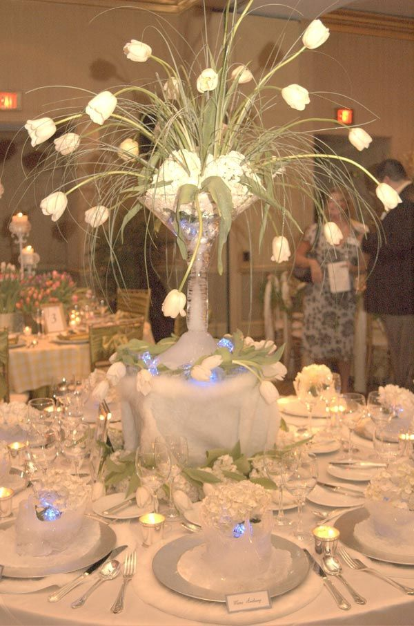 Reception table decoration wedding table settings for Winter themed wedding centerpieces