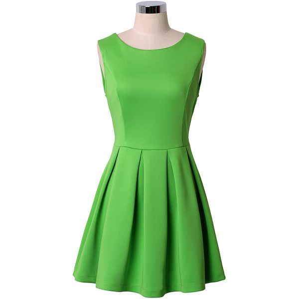 57e7ebbd3a Neon Green Sleeveless Pleated Skater Dress ( 57) ❤ liked on Polyvore