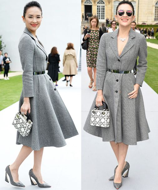 Best Dressed: Zhang Ziyi in classic Dior button-down grey coat ...
