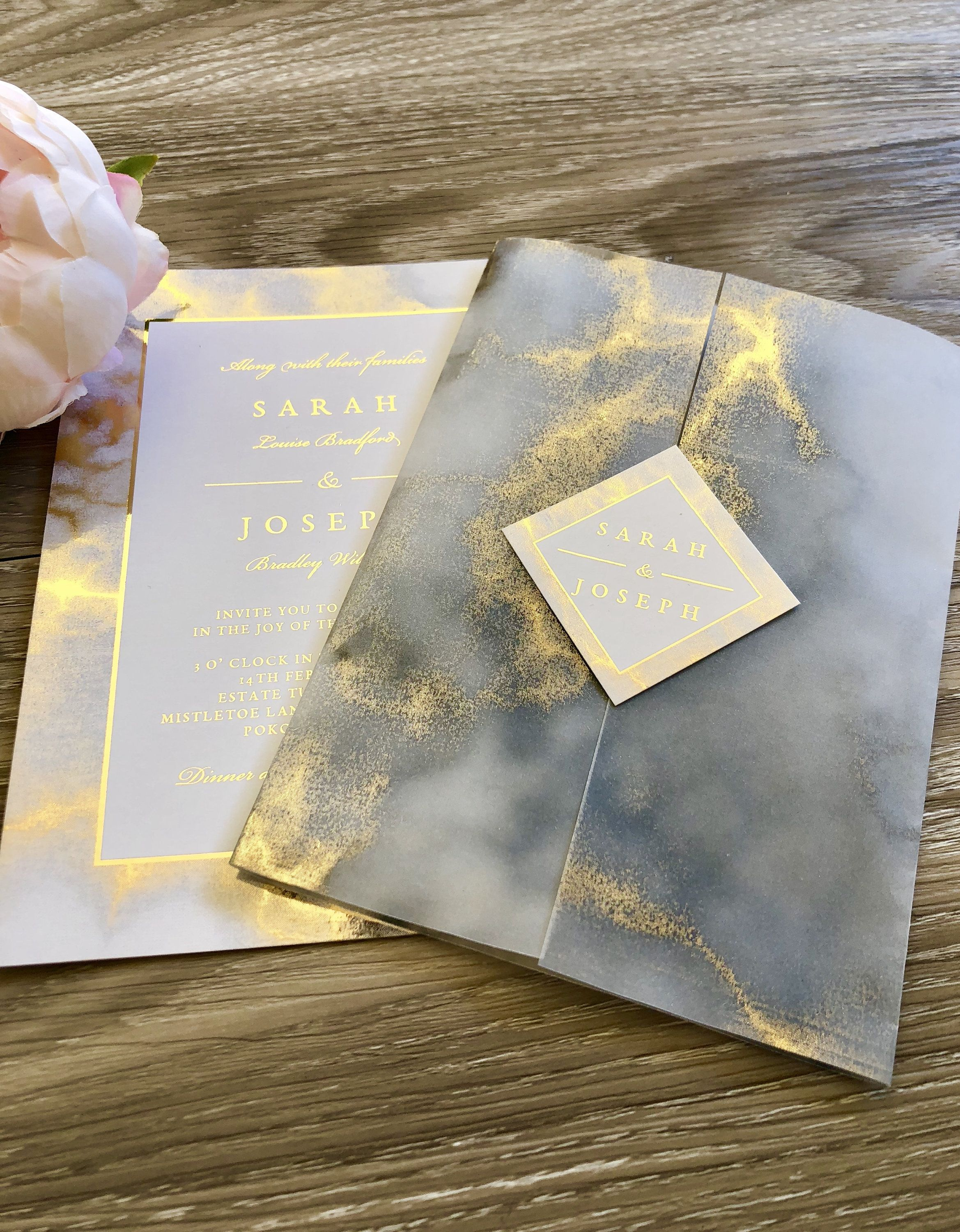 Marble and Gold Invitation Gold Foil Wedding