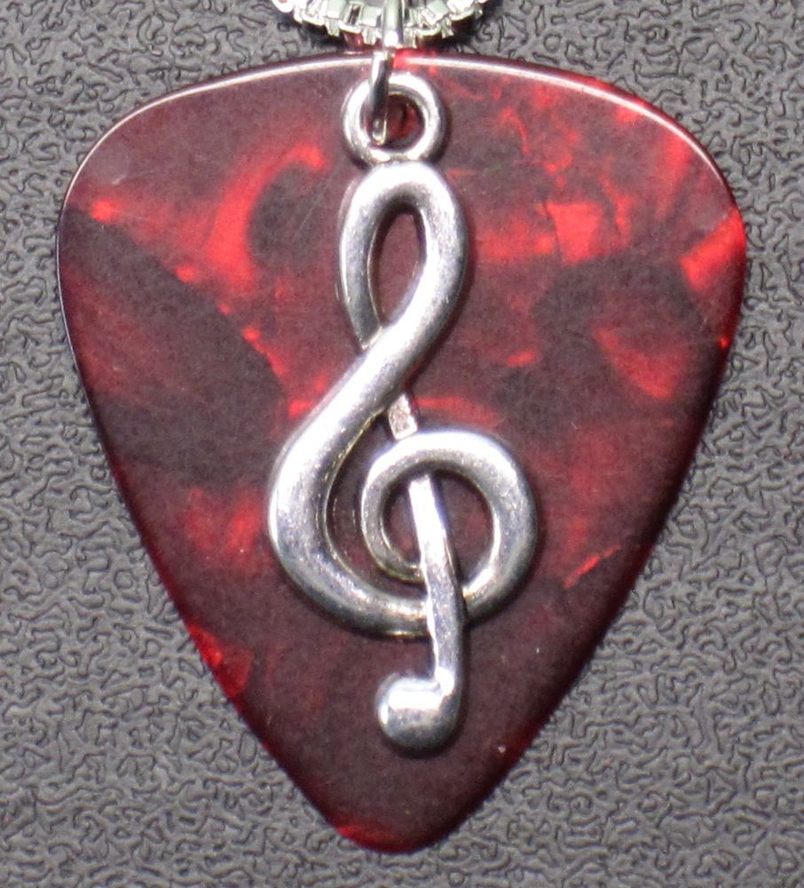 """Handcrafted Silver Music Note Charm Guitar Pick Necklace Your Choice Color 18/"""""""