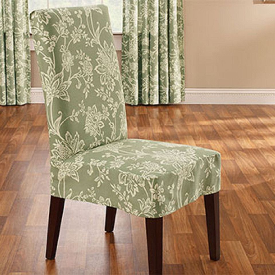 Sure Fit Soft Suede Shorty Dining Room Chair Slipcover Inspiration Surefit Verona Short Dining Chair Slipcover In Sage  Beyond The Inspiration