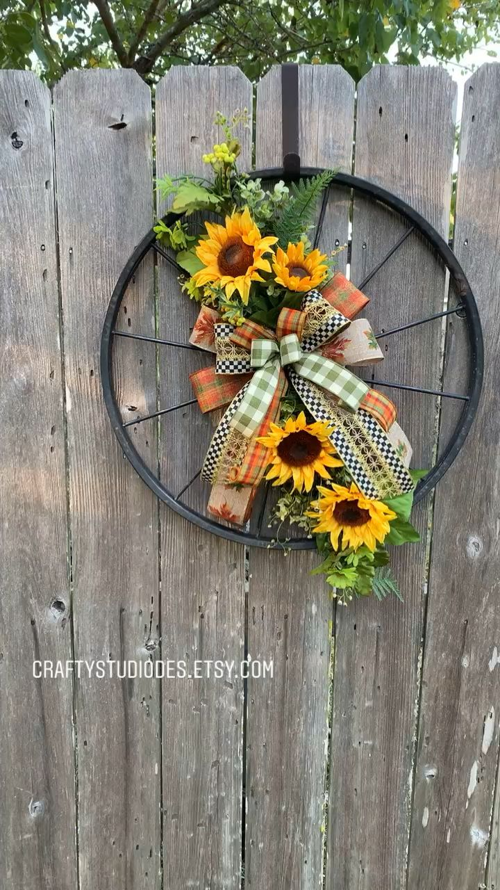 Photo of Fall Wreath, Fall Door Hanger, Sunflower Decor, #fallwreath #mackenziechilds
