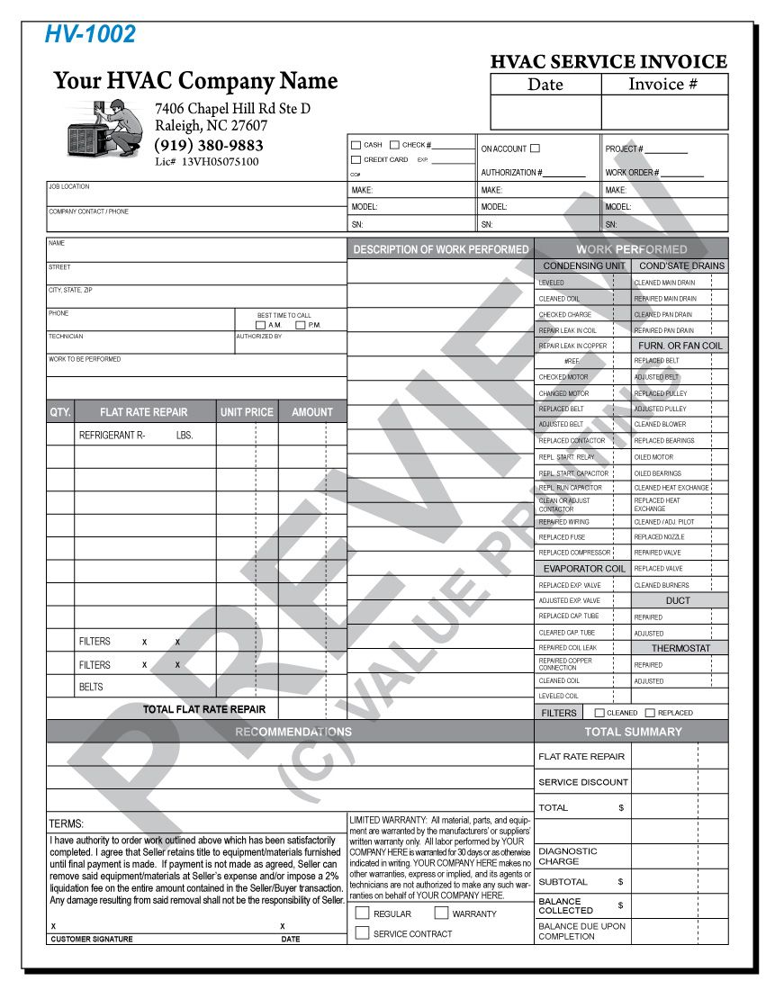 Hv Hvac Flat Rate Work Order Invoice   Value Printing