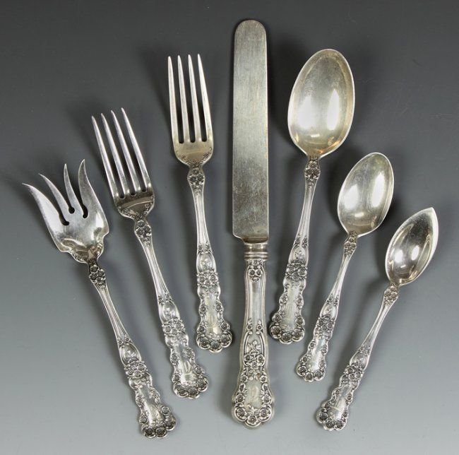 Gorham Sterling Silver Flatware Buttercup Pattern Mar 22 2013 Cottone Auctions In Ny Sterling Silver Flatware Silver Flatware Antique Flatware