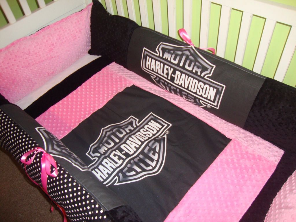 Pink And Black Harley Crib Bedding