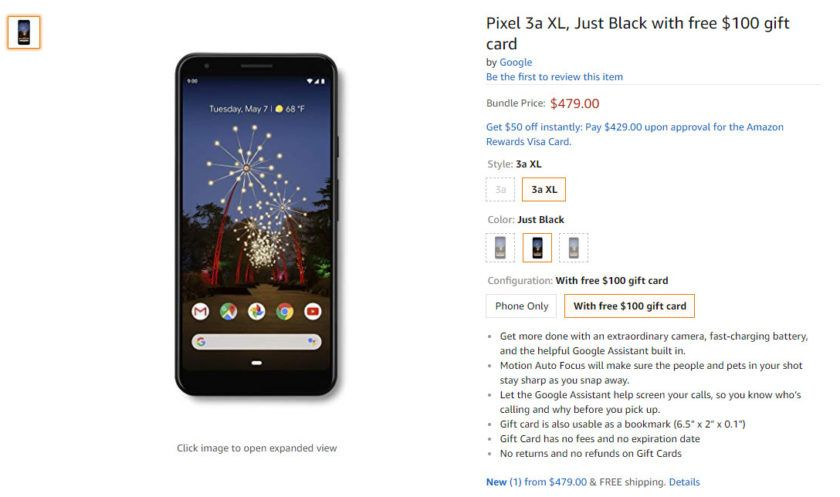 Deal get the google pixel 3a xl with a 100 gift card