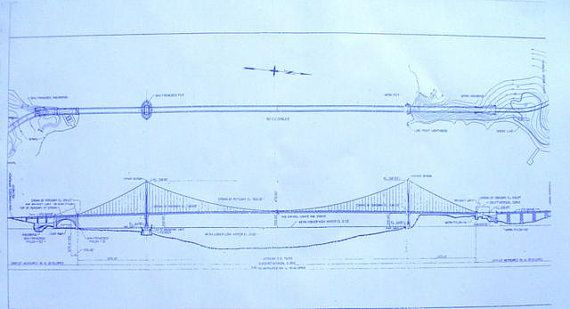 Golden Gate Bridge In San Francisco Blueprint by BlueprintPlace - new malaysia education blueprint wikipedia