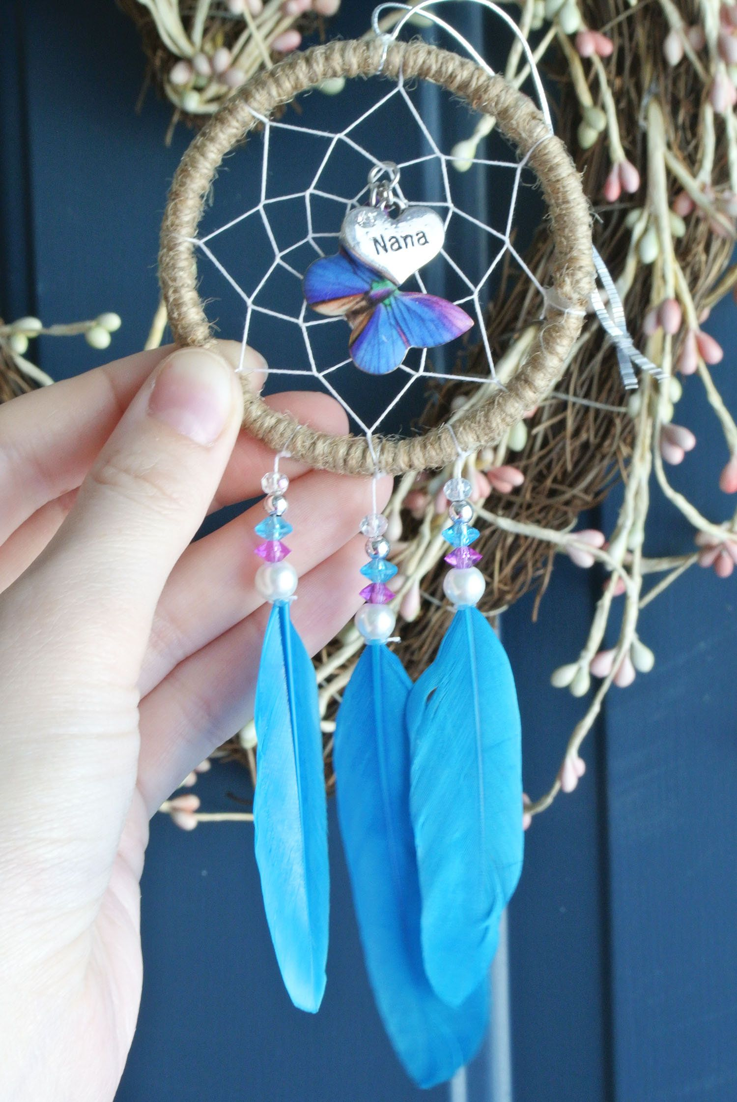 Mothers day gift for nana butterfly car dream catcher