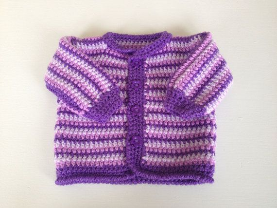 Baby cardigan handmade Jacket shades of Purple Pink by DizzyBees