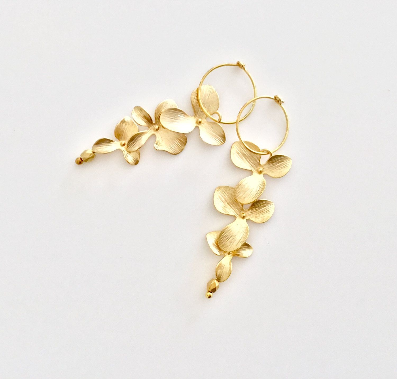 Orchid Jewelry Gold Flower Earrings Hoop Bridesmaid Jewellery Gift