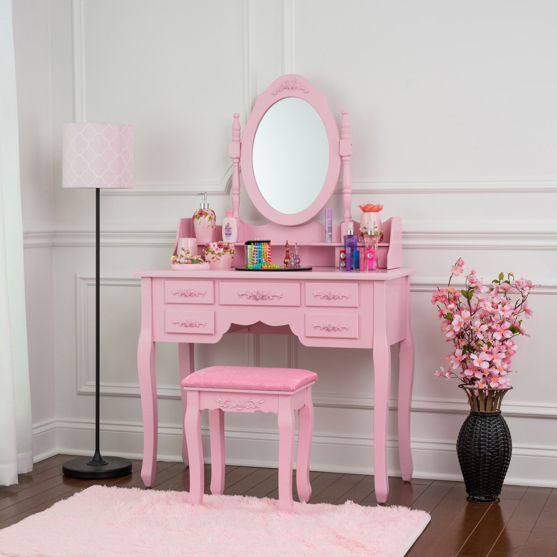 Fineboard vanity set with stool u mirror makeup table with