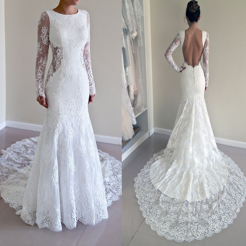 Gorgeous Round Neck Long Sleeve Sexy Mermaid Backless Lace Wedding
