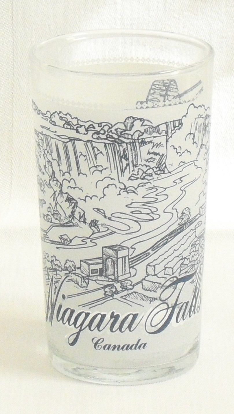 Vintage Niagara Falls Canada Travel Souvenir Glass, Blue On Frosted Glass,  1950 Highball Cocktail