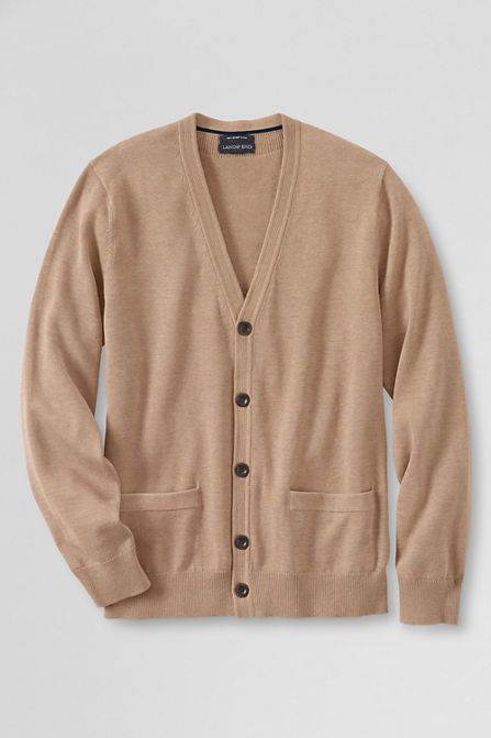 a7b702f189 Men s Supima Cotton Cardigan Sweater from Lands  End Cotton Cardigan