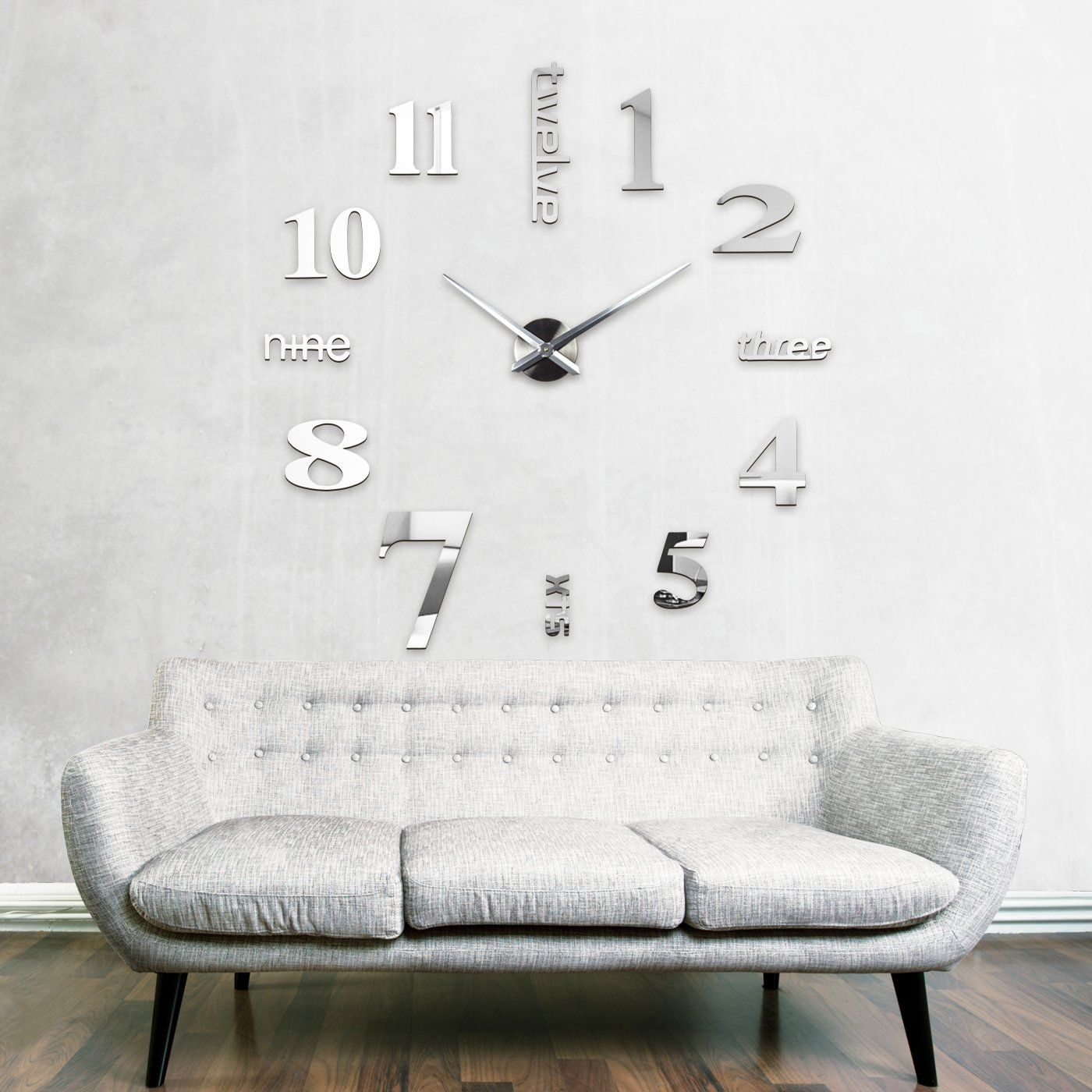 xxl3d grande horloge murale xxl 130cm miroir geante pendules murales xv d coration pinterest. Black Bedroom Furniture Sets. Home Design Ideas