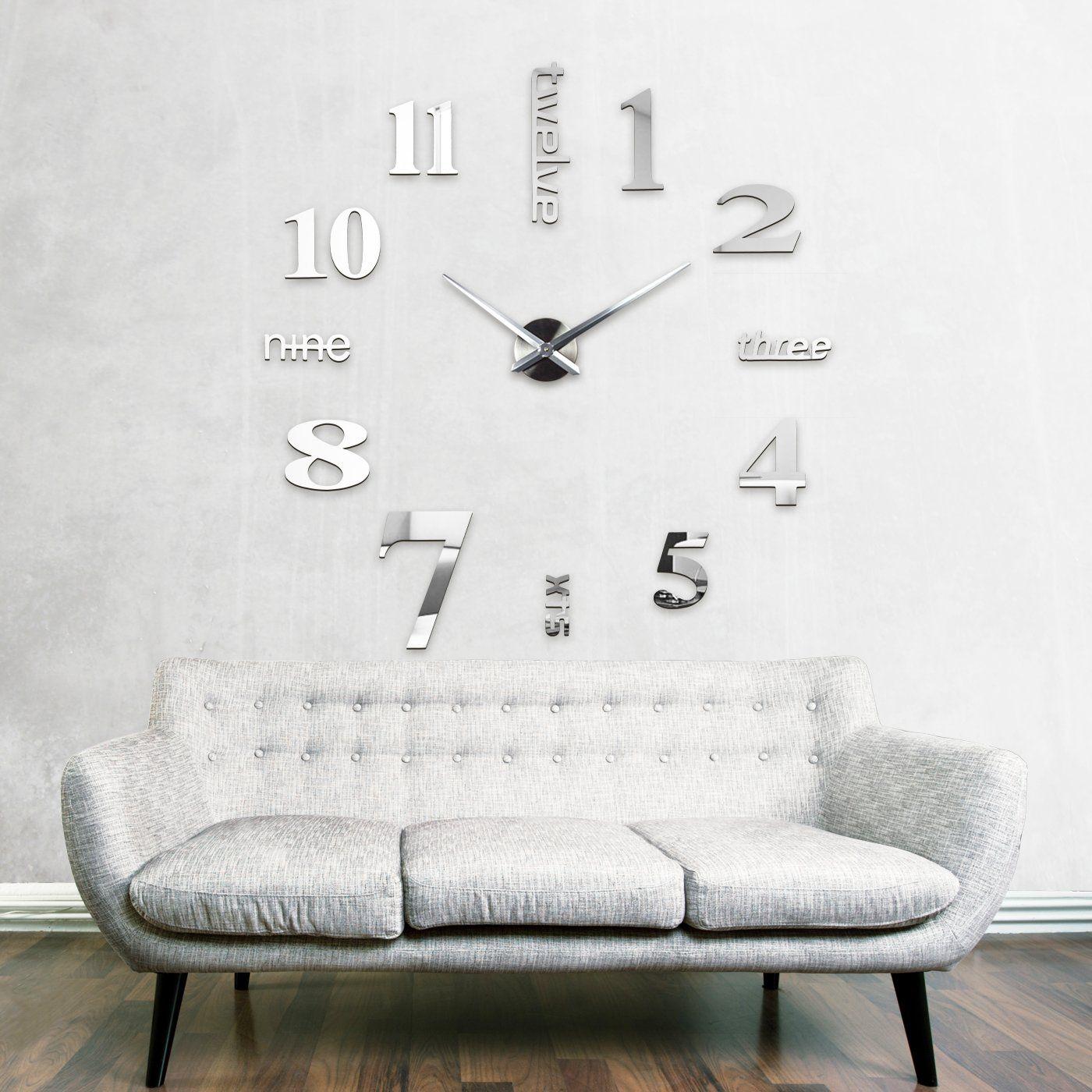 XXL3D Grande Horloge Murale XXL 130cm Miroir Geante Pendules