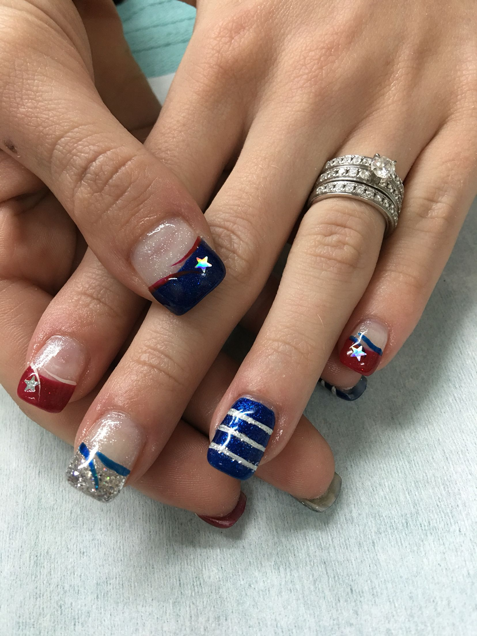 4th of july gel nails!! red, white/silver glitter and blue french