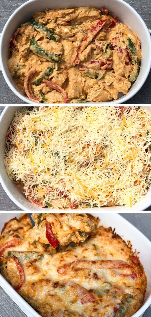 Creamy Chicken Fajita Casserole - Low Carb, Keto, THM #recipeforchickenfajitas