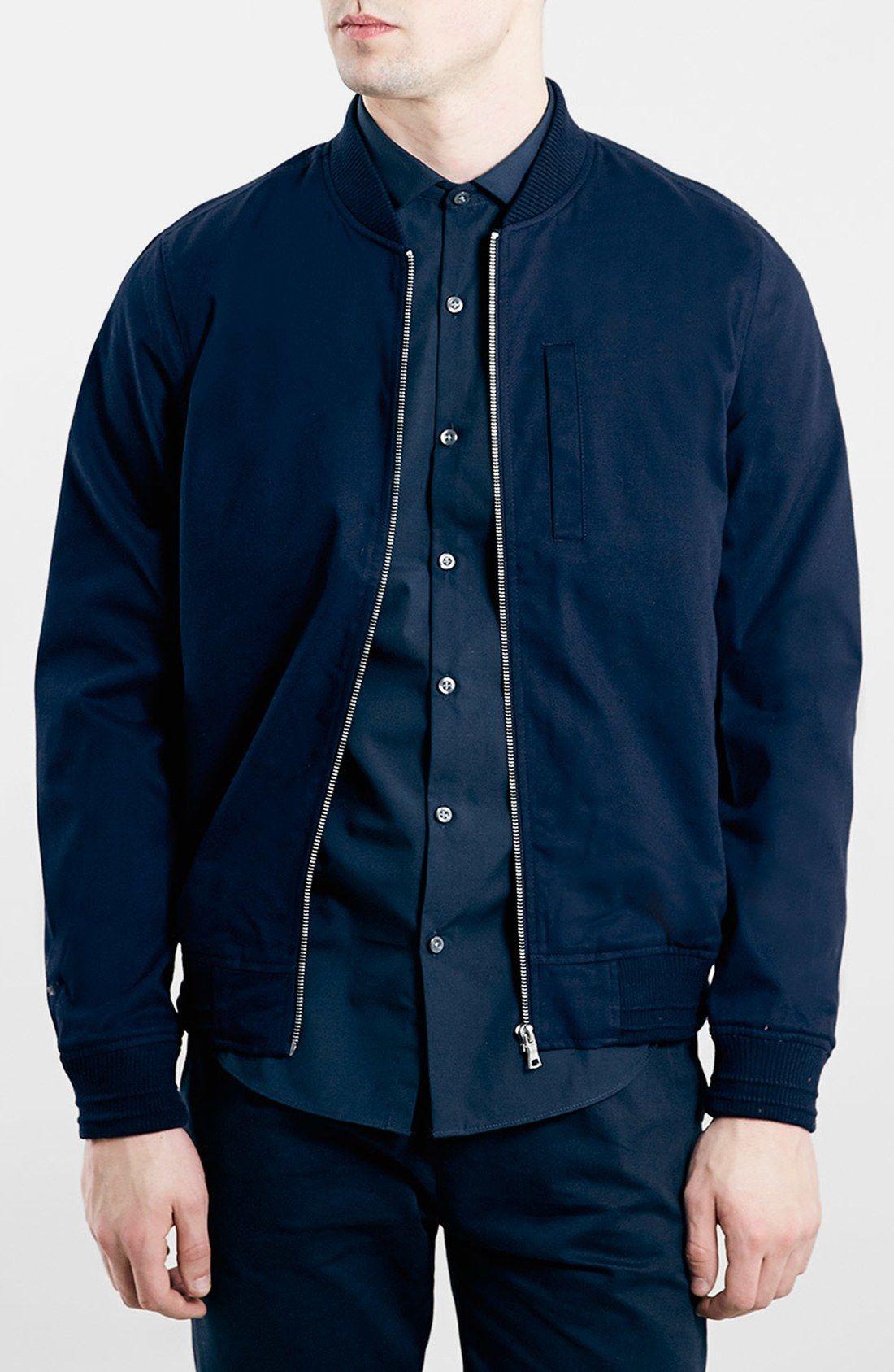 a180d880a Topman Navy Cotton Bomber Jacket | Menswear | Navy bomber jacket ...