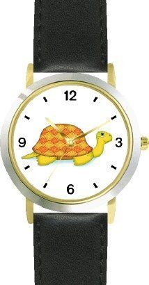Turtle or Tortoise with Fancy Shell Design No.4 - JP - WATCHBUDDY® DELUXE TWO-TONE THEME WATCH - Arabic Numbers - Black Leather Strap-Size-Children's Size-Small ( Boy's Size & Girl's Size ) WatchBuddy. $49.95. Save 38%!