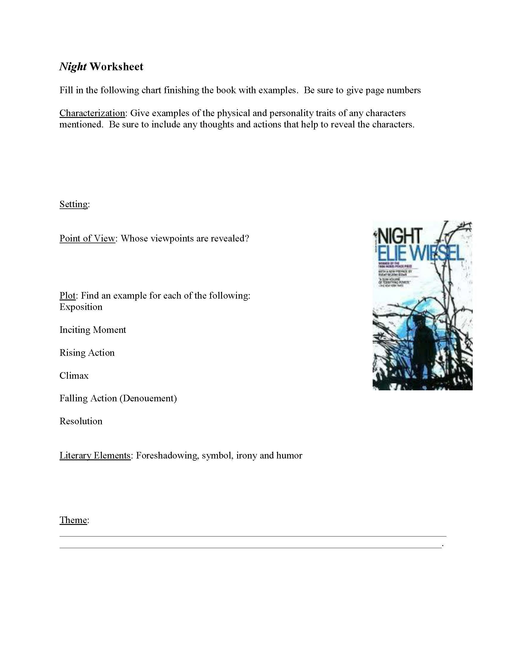 Worksheets Night Elie Wiesel Worksheets get the 35 page unit download it from httpwww httpwww