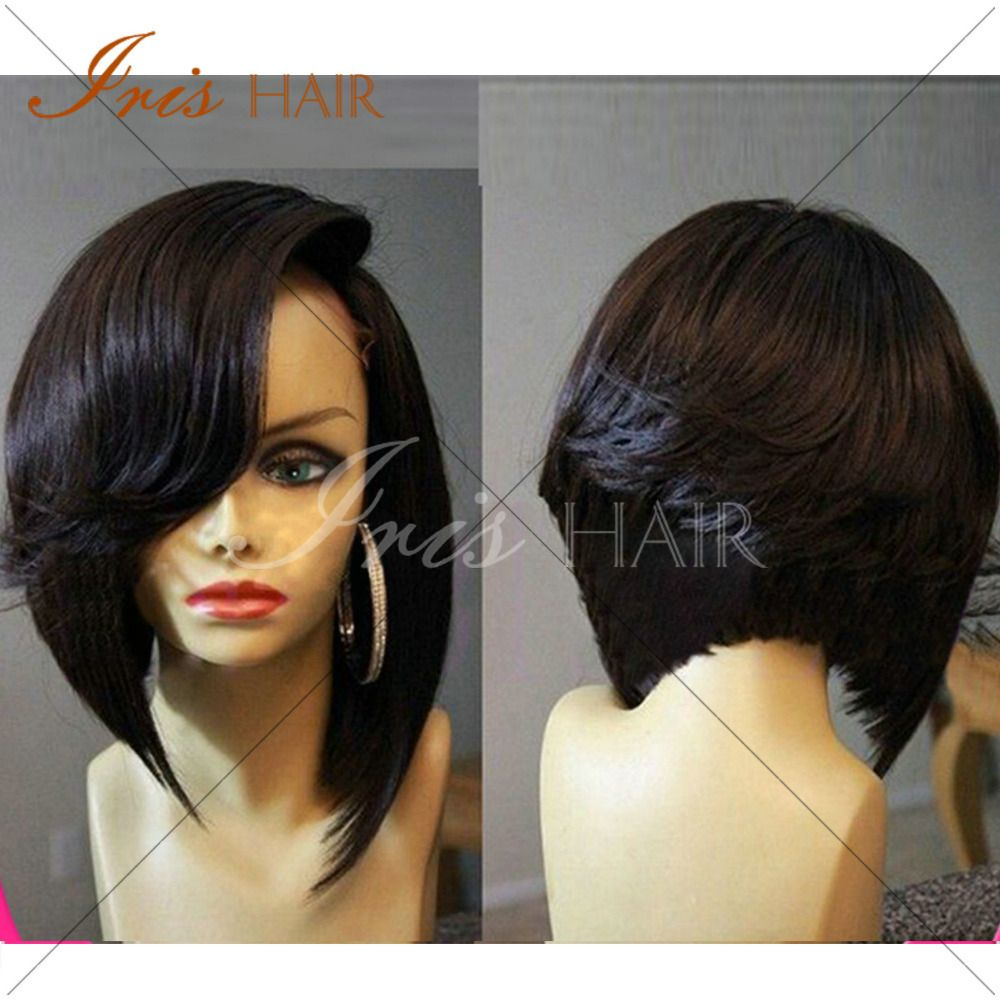 virgin hair bob cut wigs short lace front wigs glueless full lace wig ...