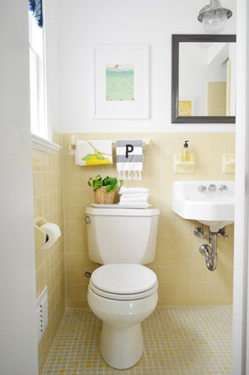 Cheap Charming Our 51 Bathroom Makeover Young House Love Yellow Bathroom Tiles Yellow Bathroom Decor Yellow Bathrooms