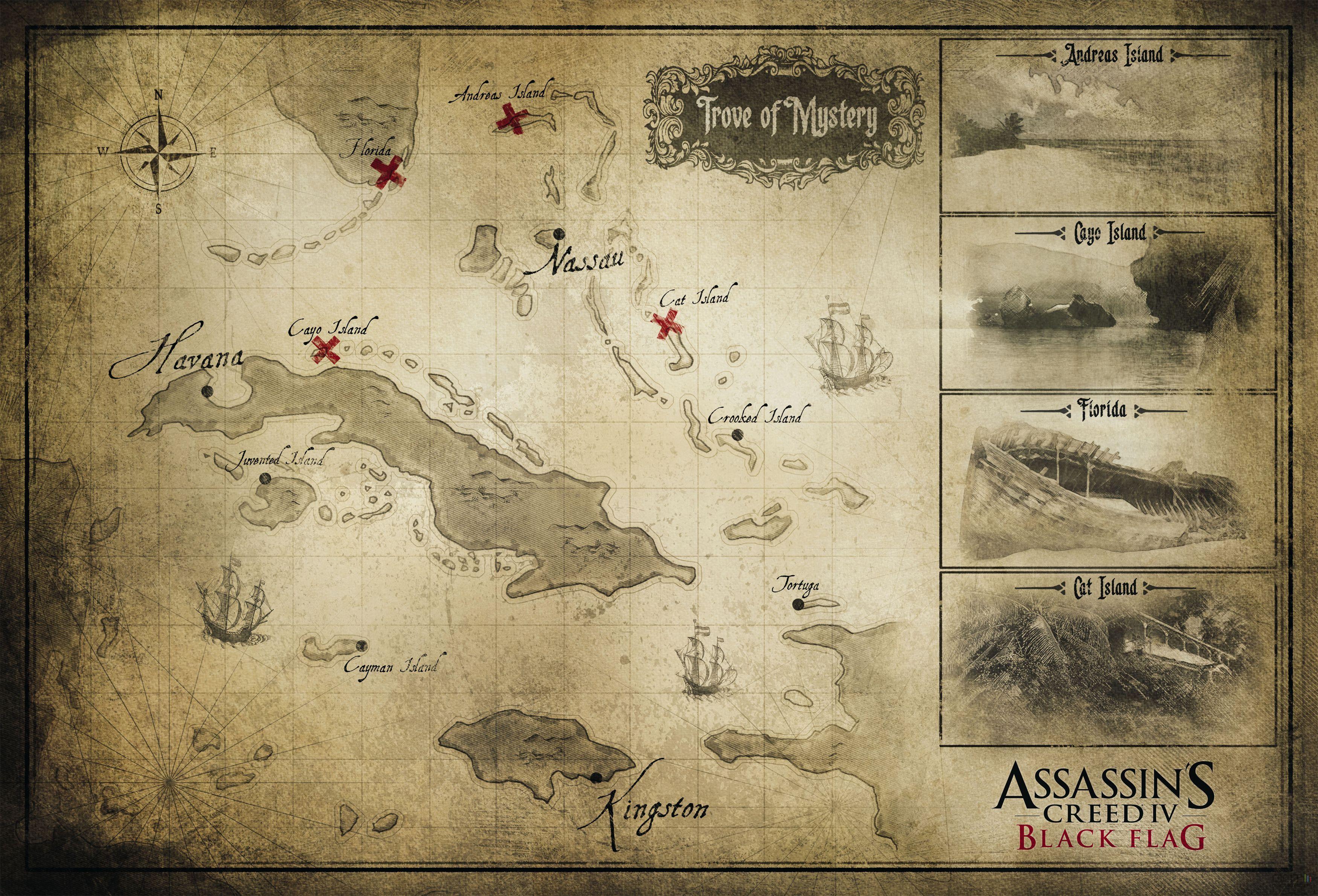 Assassin Creed 4 Black Flag - carte | Geek everything ...