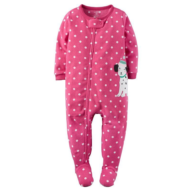 2c996a84e Baby Girl Carter s Animal Applique Fleece Footed Pajamas