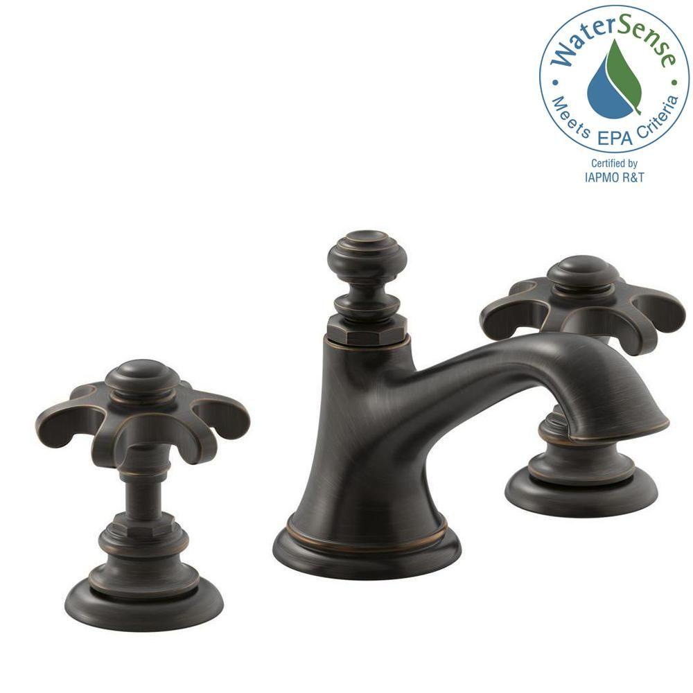 KOHLER Artifacts 8 in. Widespread 2-Handle Bell Design Bathroom ...