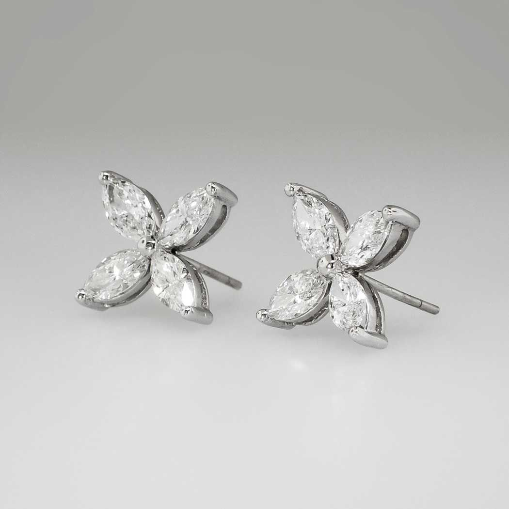 Exceptional 3 23ct T W Marquise Diamond Stud Earrings Platinum Antique Estate Jewelry Finds