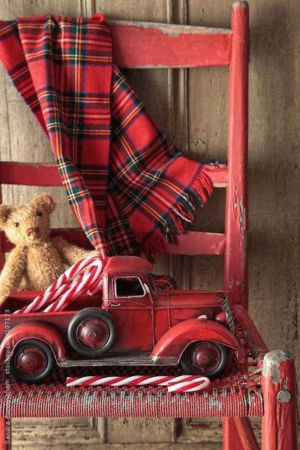 Tartan, Teddy Bears, and Vintage Toy Trucks! Christmas Celebration Time!