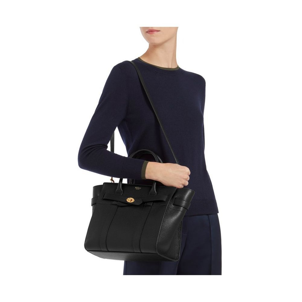 Small Zipped Bayswater Bag in Black Small Classic Grain  515f4791484b1