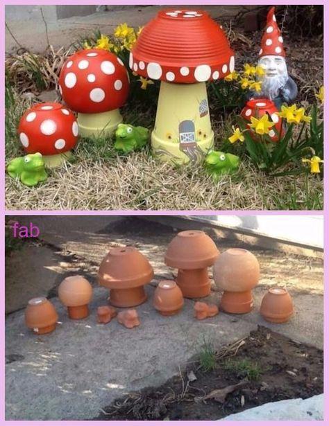 DIY Tontopf Pilz Toadstool Tutorials - Schmuck #flowerpotsoutdoor
