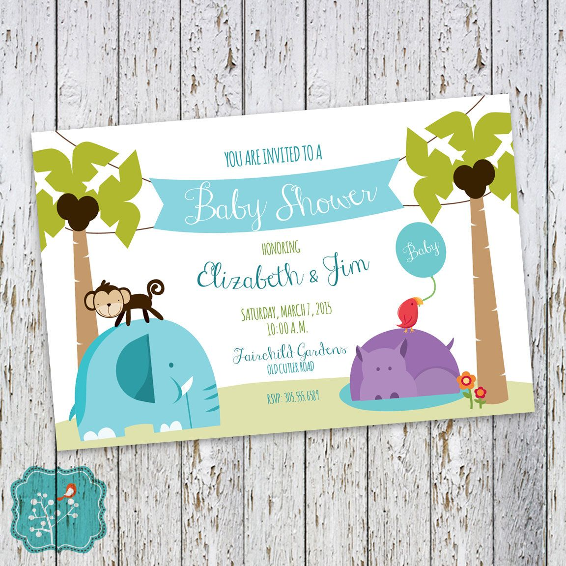 Jungle Animals Baby Shower Invitation, Jungle Party, Baby Shower ...