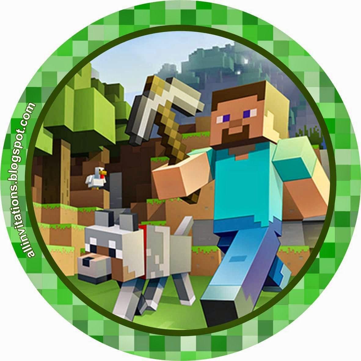 Etiqueta redonda minecraft cumple juanjo 4 pinterest - Minecraft kinderzimmer ...