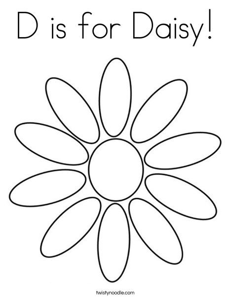D is for Daisy Coloring Page from TwistyNoodle.com | Girl Scout ...