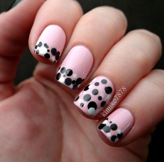 pink black and white polka dot