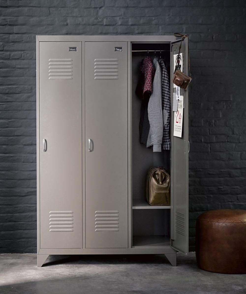 Kleiderschrank Im Industrial Stil Aus Metall B 115 Cm Weiß Maisons Du Monde Spind Kleiderschrank Loft Schrank