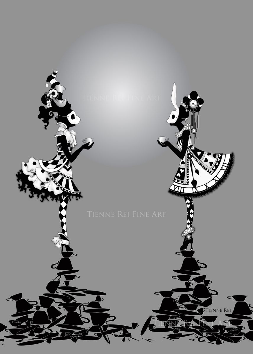 """Two for Tea, or """"2 4 T"""", is my fun and fabulous baby doll dress inspired illustration of the Mad Hatter and the White Rabbit. Created digitally in illustrator, this simple image took m…"""
