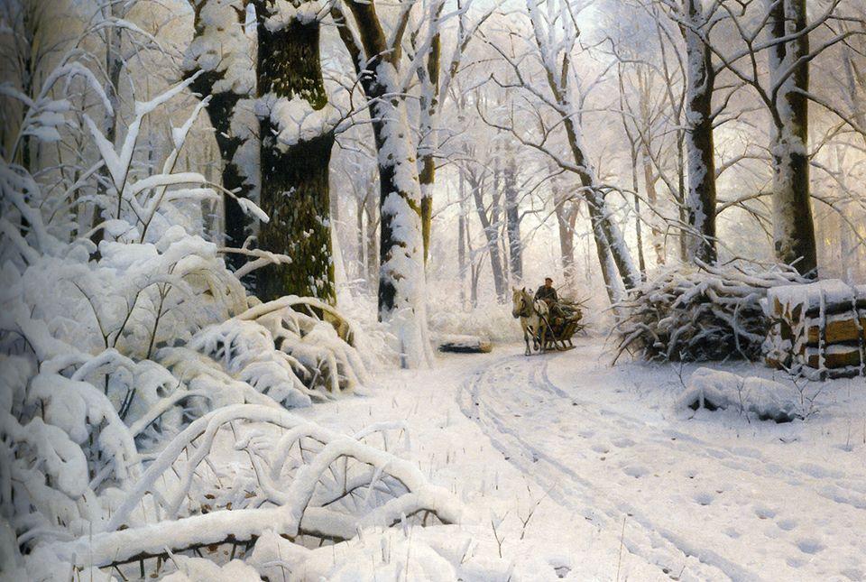 """rjtyler: """" Peder Mørk Mønsted (Danish, 1859–1941), """"Forest in Winter"""" (1915) Oil on canvas, 119 x 79.5 cm Private collection """""""