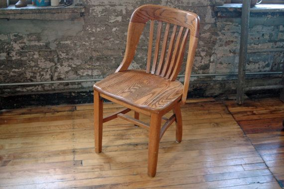 Vintage Wooden Oak Library Chair Bankers Chair Teachers Chair by  territoryhardgoods, $195.00 - Vintage Wooden Oak Library Chair Bankers Chair Courthouse Chair Wood