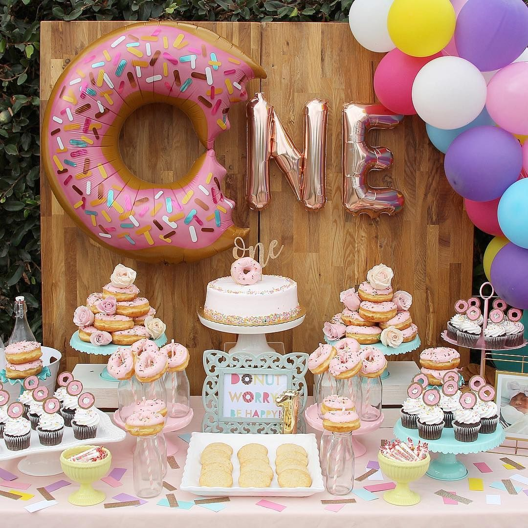 When It Comes To Throwing Your Child S First Birthday Party There S No Shortage Of Themes Or In Donut Birthday Parties Donut Themed Birthday Party Donut Party