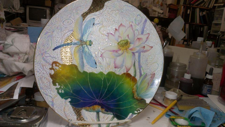 декупаж тарелки фото журавлей